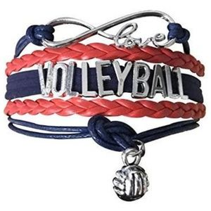 Girls Volleyball Bracelet - Navy & Red